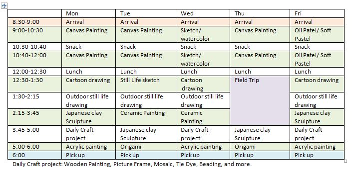 Fremont Summer Art Camp - Daily Schedule - Green Forest Art Stuido