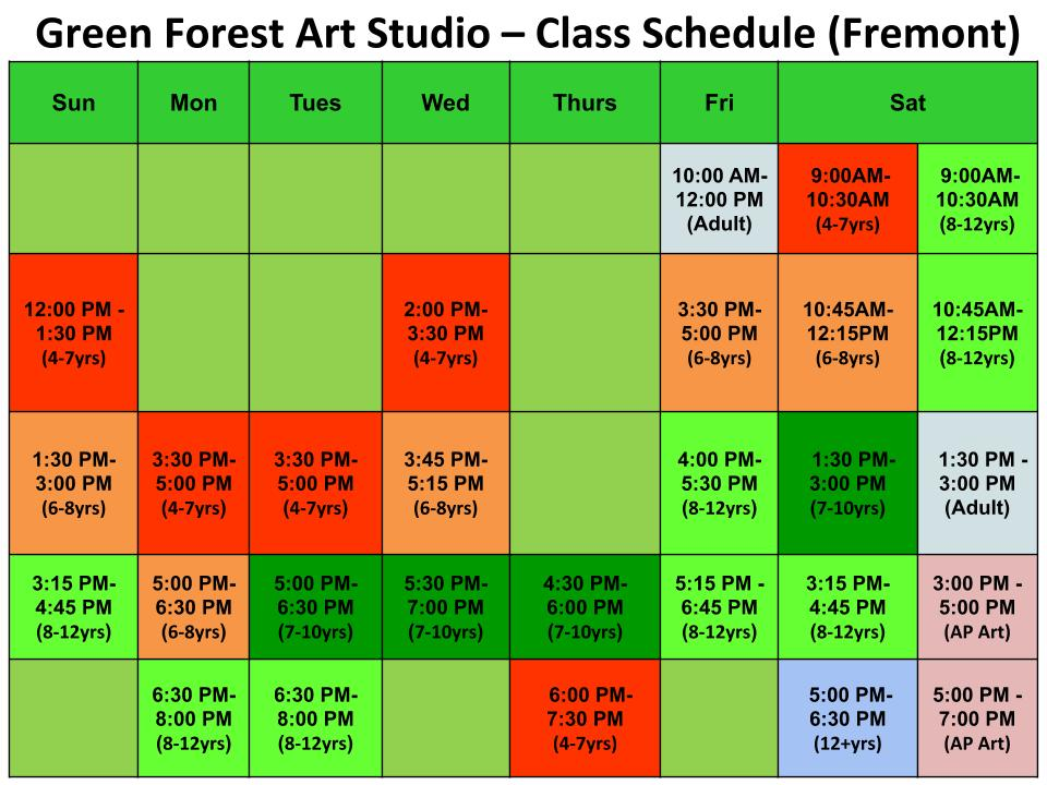 South Fremont Kids Art Classes -Schedule - Green Forest Art Studio