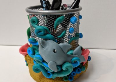 Fremont Kids Birthday Party - Green Forest Art Studio - Pencil Holder Clay Project