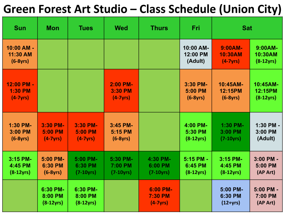 North Fremont (Union City) Kids Art Classes -Schedule - Green Forest Art Studio